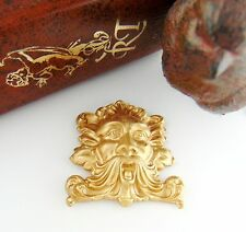 BRASS GREEN MAN Tree Face Mystical God Stamping - Jewelry Finding (C-1302) `