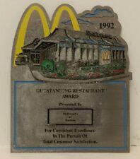 "Vintage 1992 Resin McDonalds ""Outstanding Restaurant Award"" Wall Plaque Sign NOS"