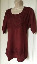"""Large Women's Tunic Top Blouse Top Short Sleeves Bust Size 42"""" around New"""