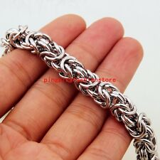 """Heavy Gift 8mm 316L Stainless Steel Silver Byzantine Chain Men's Necklace 23.6"""""""