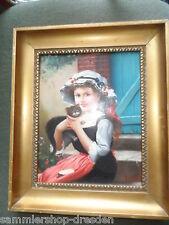 21739 Ölgemälde REPRO Mädchen 1990 antiker Rahmen oilpainting Katze sign Carson