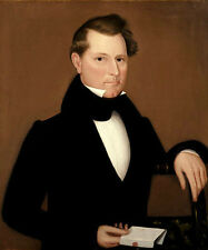 Oil painting young man portrait Captain Cox in black cloth holding letter canvas