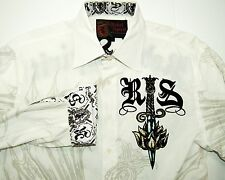Rebel Spirit Men's White Button Front Shirt Sword Wing Print Size Large
