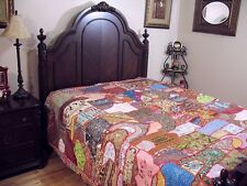 Sari Indian Bedding Bedspread Ethnic Khambadia Work Handmade King Tapestry