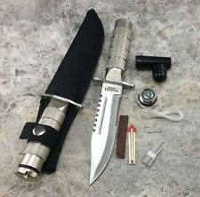 """8.5"""" Heavy Duty Stainless Steel Serrated Blade Survival Knife with Kit & Sheath"""