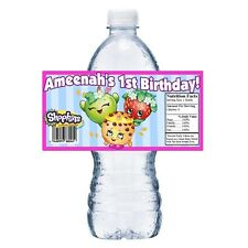20 SHOPKINS PERSONALIZED BIRTHDAY PARTY FAVORS WATER BOTTLE LABELS WRAPPERS