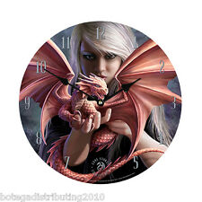 Anne Stokes Dragonkin Wall Clock Fairy Dragonlit  Reloj de Dragon Ada Home Decor