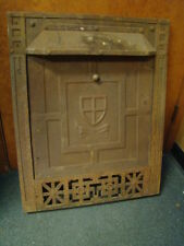 ANTIQUE LATE 1800'S CAST IRON ORNATE GAS FIREPLACE INSERT W/ SUMMER TIN CENTER A
