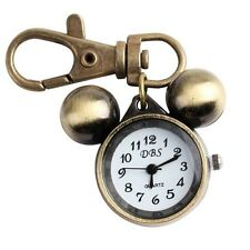 Pocket Watch Quartz  Bronze Mickey Mouse Key Chain Ring Pendant Kids Child Gift