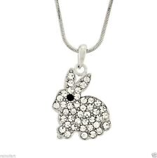 BUNNY W Swarovski Crystal Hase Rabbit Cute Charm Pendant Necklace Gift Jewelry