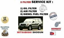 FOR MITSUBISHI SHOGUN 2.5 2.8TD 91-2000 OIL AIR DIESEL FUEL FILTER SERVICE KIT