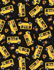 Fabric School Days Bus Fun Kids Tossed on Black Cotton by the 1/4 yard BIN