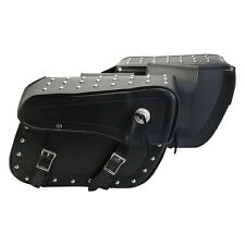 New Turin Black Leather Studded Saddle bags / Motorcycle Luggage