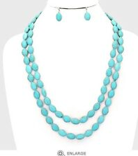 "50"" Very Long Artificial Turquoise Blue Bead Chunky Necklace Earrings Set"