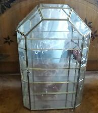 BRASS AND GLASS  DISPLAY CASE FOR MINIATURES WITH MIRROR WITH ETCHED FLOWERS