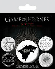 GAME OF THRONES STARK WINTER IS COMING 5 PACK OF BADGES NEW OFFICIAL MERCHANDISE