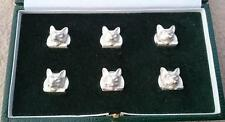 "SIX BRITISH SOLID SILVER NOVELTY CARD MENU HOLDERS ""FOX HUNTING"" BIRMINGHAM BOX"