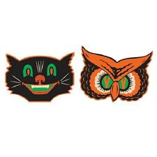 Vintage Beistle Halloween Reproduction Owl & Cat Mask