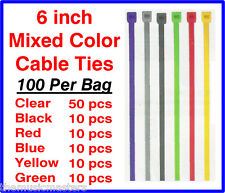"100 Pieces 6"" inch Asst Plastic Nylon CABLE TIES Wire Cord Wrap Network Zip Tie"