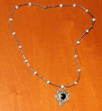 "VERY PRETTY GOTHIC TRIBAL HEART PENDANT ON 14"" SILVER TONE & PEARL BEAD NECKLACE"