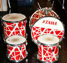Vintage Tama SwingStar--1984 Alex Van Halen Red & White-4 PC Drum Kit Bass/Toms