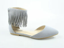 Women's Fashion Sexy Fringe Zipper Pointy Toe Flat Sandal Shoes Size 5.5- 11 New