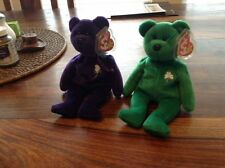 Erin & Princess Dianna Di Bear TY Beanie Baby lot. PE pellets in both babies