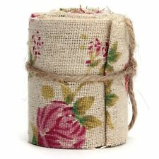 Craft Jute Burlap Hessian Ribbon Floral Print Fabric Vintage Wedding Trimming