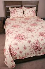 Queen Quilt French Country Style Red Toile Cotton