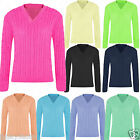 Womens Ladies V Neck Long Sleeve Chunky Cable Knit Jumper Sweater Crop Knitwear