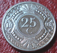 1993 NETHERLANDS ANTILLES 25 CENTS IN AU CONDITION