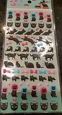 Puffy Black Cat Sticker Sheet 3D Raised 86 Individual Stickers Craft Scrapbook