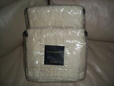RALPH LAUREN Standard QUILTED  Pillowcases Shams Pair ECRU 100% SILK