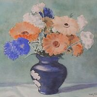 Ivor Mackenzie Original Still Life Watercolour Painting - Flowers In A Blue Vase