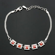 Ladies Sterling Silver Square Micro Pave Set Cubic  Zirconia Bracelet GIFTBOXED