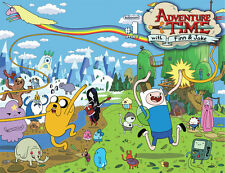 """Adventure Time - With Finn & Jake TV Series Fabric poster 32"""" x 24"""" Decor 14"""