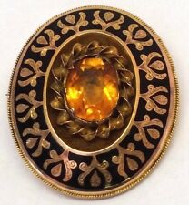 Antique Victorian Enameled 15ct Gold Citrine Mourning Locket Brooch 11.6g