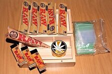 WOODEN ROLLING BOX KIT + METAL GRINDER + RAW ROLLING PAPERS + RAW CONES GIFT