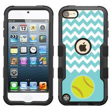 For Apple iPod Touch 5 / 6 Generation Hybrid Case (Blk/Blk/TF) -Chevron/Softball