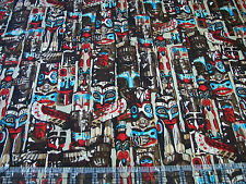 1 Yard Quilt Cotton Fabric- Benartex Kanvas Northwest Native Totem Poles Tan