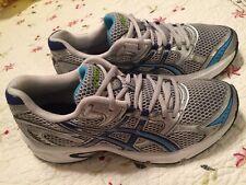 ASICS GEL Equation 4 Womens Running Shoes Silver Navy Cyber Blue SZ 8 Very Good