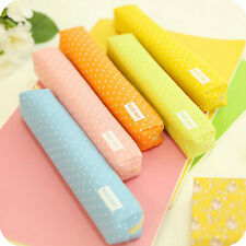 Candy Color Pencil Case Dot  Pen Bag Stationery Pouch Office School Supplies CA