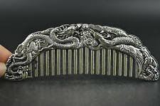 Decorated Wonderful Miao Silver Carving Noble Dragon Phoenix Rare Lucky Comb