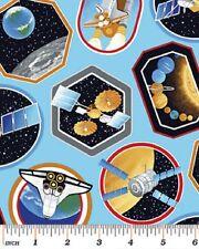 Fat trimestre I want my space stickers en coton bleu sur tissu de matelassage 75cm x 50cm