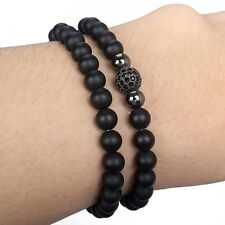 Fashion Men's 6MM Matte Onyx Rhodium Plated Zircon Disco Ball Beaded Bracelet