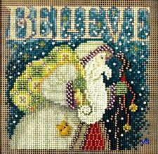 "Mill Hill Button Beads Counted Cross Stitch Kit 5"" x 5"" ~ BELIEVE Sale #14-1304"