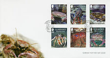 Guernsey 2014 FDC Marine Life II Crustaceans 6v Set Cover Chancre Lobster Crab