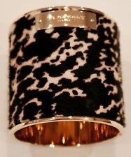 BURBERRY Prorsum PRINTHILL Calf Hair LEATHER Gold Tone BANGLE CUFF Bracelet