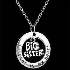 Family'Sister,I Love You Big Silver Pendant With Heart Gift Necklace Chain Charm