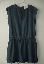 HANNA ANDERSSON Chambray Ruffle Dress Vintage Light Blue 150 12 NWT